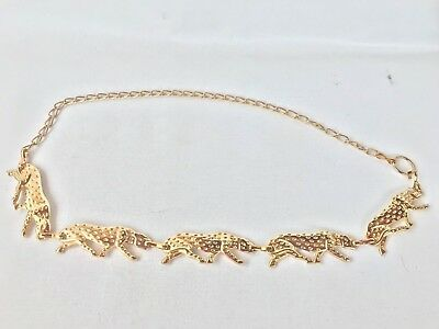 Vintage retro Gold Tone Belt Embossed Metal Leopard Cougar Chain