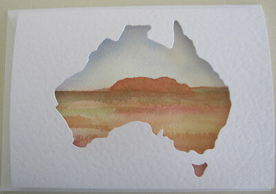 HAND painted WATERCOLOUR Ayers ROCK plain CARD DIY pastels AUSTRALIA craft HOBBY