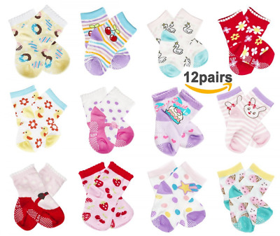 CIEHER 12 Pairs Super Cute Baby Non Slip Ankle Cotton Socks with Grip for 9-36 M