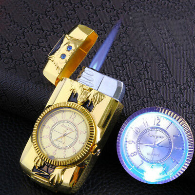 Cool Men Quartz Watch Metal Windproof Jet Torch Gas Butane Lighter Wolf Gold