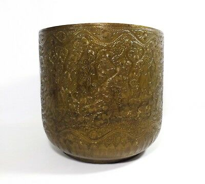 Early 20Th Cen Antique Lg Indian Decorated Brass Planter, W/tooled Flora/figures