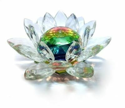 Colorful Crystal Lotus 60mm Water Lily Feng Shui Home Harmony Decor Ornament