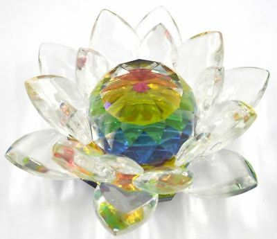 Colorful Crystal Lotus 40mm Water Lily Feng Shui Home Harmony Decor Ornament