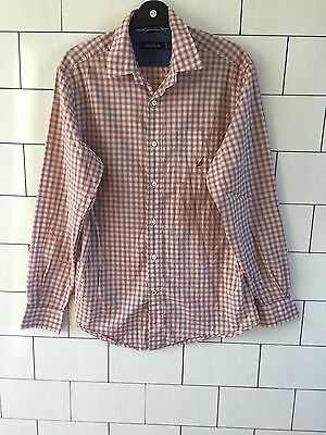 Mens Urban Vintage Retro Long Sleeve Check Nautica Casual Shirt Size Small #2