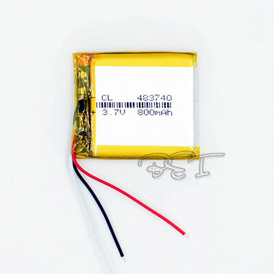 3.7V 800 mAh rechargeable Li-Polymer Lithium LI-PO ion 3-wire  483740 for GPS