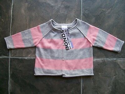 BNWT Baby Girl's Bonds Pink & Grey Knitted Cotton Cardigan Size 000 & 0