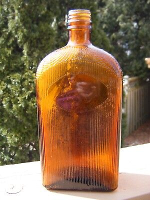 Amber Spider Web Medicine Liquor Tonic Bottle Screw Top Marked RD. 1928