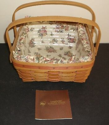 Longaberger 1992 Mother's Day Basket w/Swinging Handles Floral Liner w/Protector