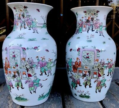 ANTIQUE CHINESE 19th CENTURY QING DYNESTY PAIR OF FAMILLE ROSE VASE 38cm