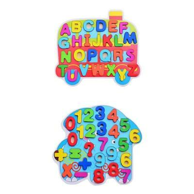 2x Colorful Wooden Puzzle Alphabet Numbers Blocks Chidlren Educational Toys