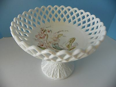 Antique white glass pedestal compote bowl floral design inside