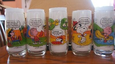 Vintage McDonald Peanuts Land Action Series Glasses circa 1977 Complete set of 5