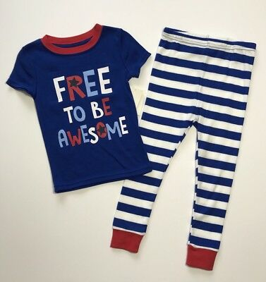 NWT FREE TO BE AWESOME Toddler Boys Tight Fit Pajamas 2 Pc PJ Set Sz 3T 4T 5T