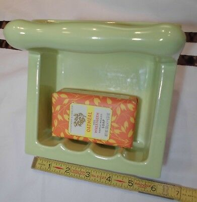 "Vintage *Key Lime Green* Ceramic… Recessed Tall Soap Dish with Grab Bar  ""NOS"""