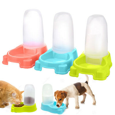 Dog Automatic Water Bottle Food Bowl Dish Feeder Dispenser Pet Drinking Fountain