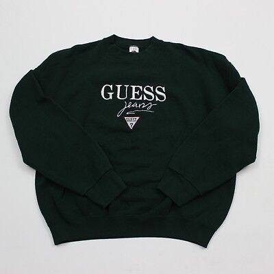 VTG 90s Guess Jeans Script Spell Out Green Sweatshirt USA Made 50/50 Men's XL
