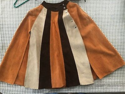 vintage WOMENS TRI-TONE SUEDE CAPE PONCHO COAT hippie boho FREE SIZE costume