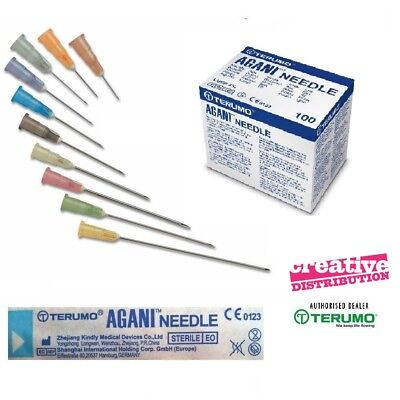 Hypodermic Sterile Needles Terumo Choice of Gauge and Sizes Sets of 25, 50,100