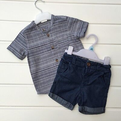 Baby Boy Clothes 6 9 Months Outfit Blue Stripy Grandad Shirt Next