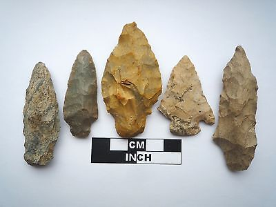 Native American Arrowheads x 5, Genuine Archaic Artifacts, 1000BC-8000BC (0804)