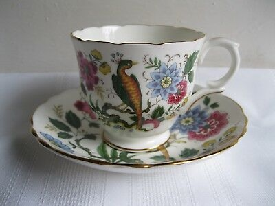 Crown Staffordshire Bird of Paradise Cup and Saucer