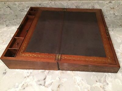 antique walnut folding lap desk with key and ink well.