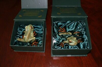 2 Golden Pond Collection - Ceramic frogs/ Handmade craft Perfect gift/ Fine art