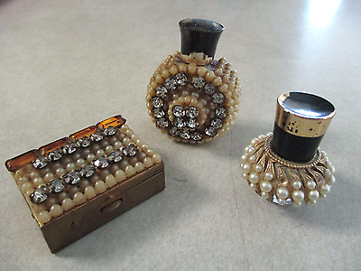 ANTIQUE VINTAGE BEADED and JEWELED PERFUME BOTTLES AND PILL BOX LOT OF 3