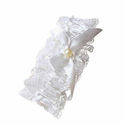 Off White Lace Garter with Pearl Bead Bow Detail Hen Night Wedding Bridal