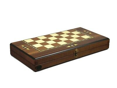 "Backgammon Set Hand Made Solid Walnut Wood ""helena"" Mother Of Pearl17""- 2233W"