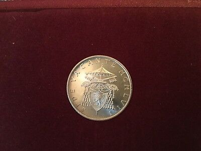 1958 VATICAN SEDE VACANTE 500 lire UNC SILVER COIN in RED folder - ITALY
