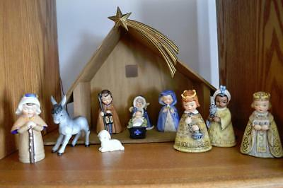 Vintage 10Pc Goebel Hummel Nativity Set W/wooden Stable~Light~Star
