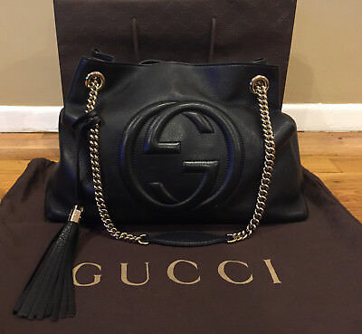 87893764e2 GUCCI BROADWAY SPIKED Chain Shoulder Bag 432410 Black White Gold NWT ...
