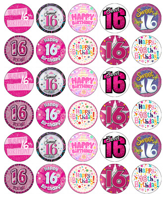 30 X 16th Birthday Cupcake Toppers Edible Paper Fairy Cake Topper Girl Pink