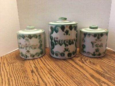 SET 3 MA. Hadley Pottery COFFEE SUGAR   & TEA Canisters With  Lids  Pottery EUC