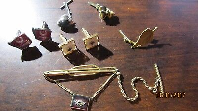 Shriners Masonic & ect Cuff Links and lot of 6 Vintage Tie Tacs Gold Onyx ect