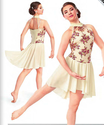 Ivory Crepe Pink Sequin Lyrical Ballet Dance Dress Curtain Call Costume CLA ASM