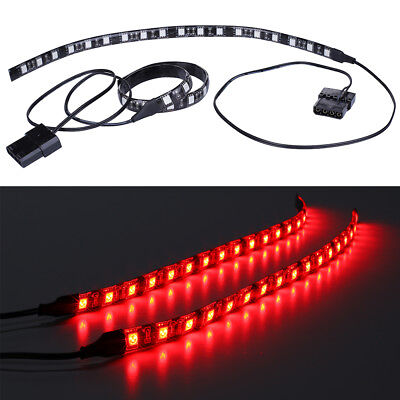 Red 2X30CM For PC Gaming computer case LED light strip kit mole 20CM tails