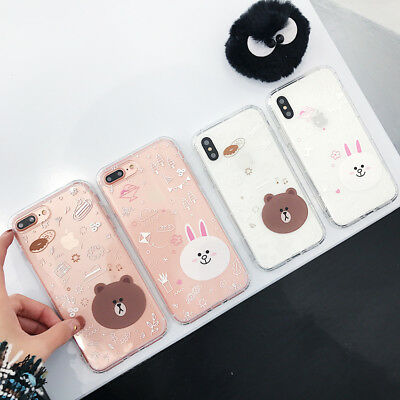 Cartoon Adorable Brown Bear Clarity Rubber Soft Case For iPhone X 8 7 6 S Plus