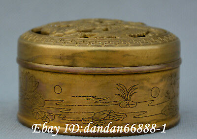 Chinese old Bronze dragon phoenix hollow out champignon incense burner censer