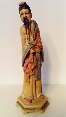 Vintage Chinese Oriental Man Carrying Fish - Collectable Resin Figure