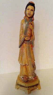 Vintage Chinese Oriental Woman Carrying Bottle - Collectable Resin Figure
