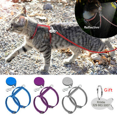 Cat Harness and Leash With Engraved ID Tag Reflective Puppy Kitten Strap Harness