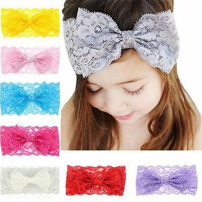 Brand New Gorgeous Baby Girls Toddlers Lace Bow Headband 7 Cols Available