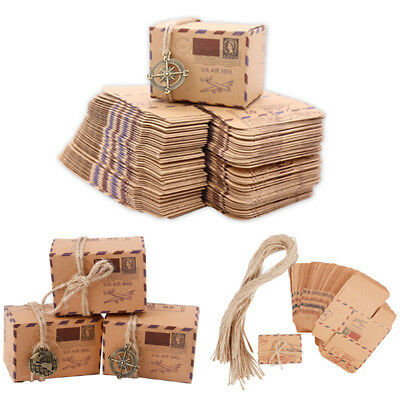50PCS Kraft Paper Favor Gift Box Candy Chocolate Boxes Wedding Party Decoration