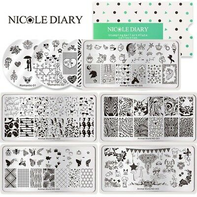 NICOLE DIARY Nail Art Stamping Plates Heart Butterfly Animals Stamp Templates
