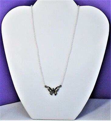 Vintage Silver Tone Crystal Butterfly Seed Bead Pendant Necklace Gun Metal Chain