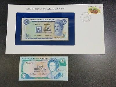 Lot of 2 Banknotes of BERMUDA 1982 $1 1988 $2  #15B