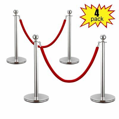 Silver/Gold  Stainless Steel Stanchion Posts w/Red Velvet Rope