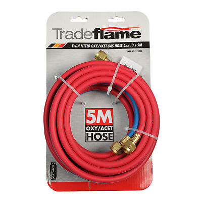 Tradeflame TWIN FITTED OXY/ACET GAS HOSE 5m Rugged Heavy Duty, Brass Fittings